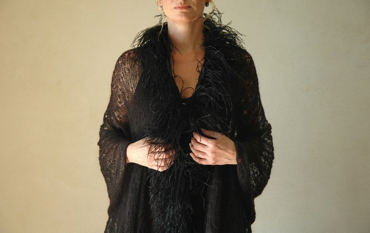 Black lace mohair shawl