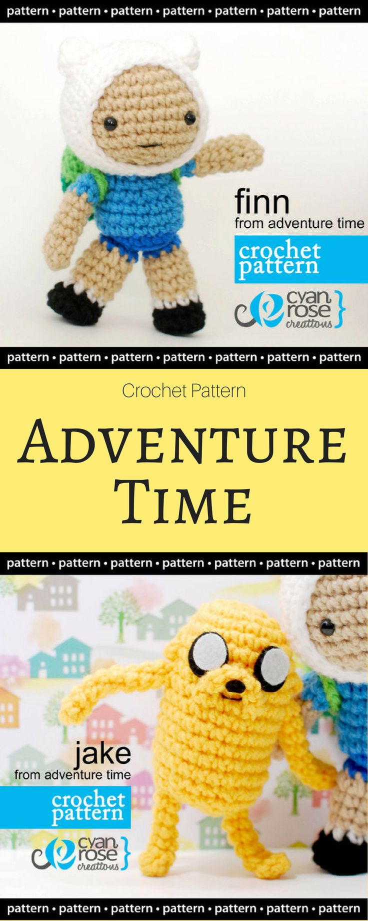 ADVENTURE TIME! Finn and Jake Crochet Pattern - Finn from Adventure Time | Jake from Adventure TIme | Amigurumi Doll CROCHET PATTERN ONLY #ad