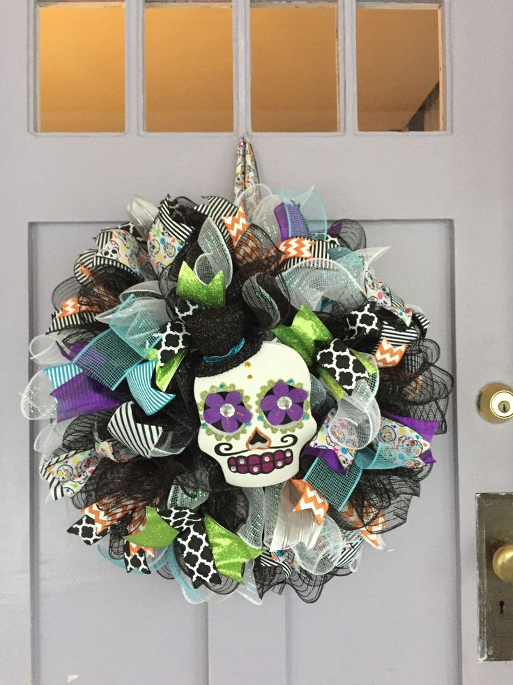 Sugar Skull Wreath | Eva's 6ths birthday | Pinterest ...