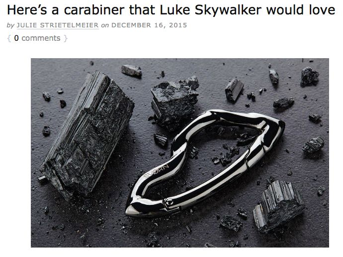 I guess the force is strong with this one. Thank you, @gadgeteer for the brilliant feature and the witty headline! #starwars #lukeskywalker #svorn #keychain #carabiner #accessories #style #fashion