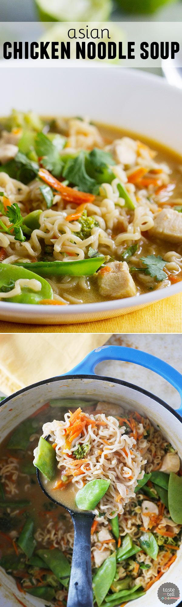 Not your normal chicken noodle soup, this Asian Chicken Noodle Soup combines chicken, lots of veggies and ramen noodles in an Asian-inspired broth. This is a sure way to warm your belly!: