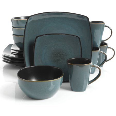 Gibson Home Soho Lounge Square Stoneware 16-piece Dinnerware Set - Teal. For product & price info go to:  https://all4hiking.com/products/gibson-home-soho-lounge-square-stoneware-16-piece-dinnerware-set-teal/