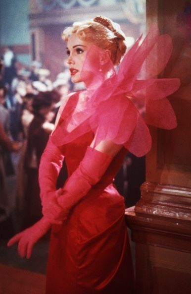 Zsa Zsa Gabor in a dress by Schiaparelli for the film Moulin Rouge, 1952. This film was about the life of artist Toulose-Latrec.
