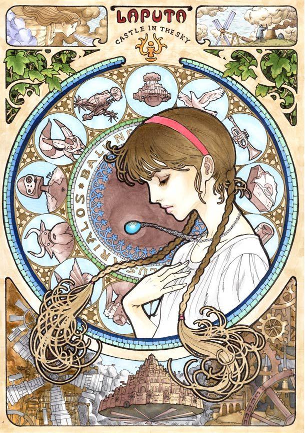 Quand le Studio Ghibli rencontre l'Art Nouveau, une superbe série des affiches des films de Hayao Miyazaki imaginés par l'illustrateur japonais Marlboro.