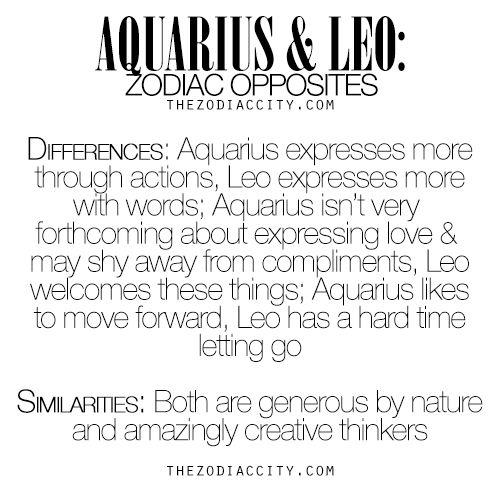 Zodiac Opposites: Aquarius & Leo.