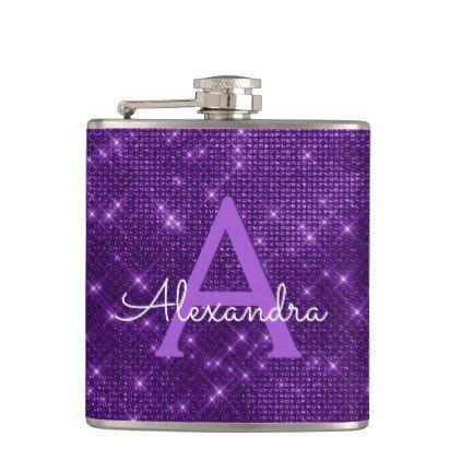 Purple Trendy Sparkle Monogram Initial Hip Flask - birthday gifts party celebration custom gift ideas diy