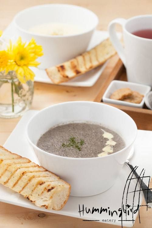 Wild Mushroom Soup for a cold rainy day! Available at Hummingbird Eatery