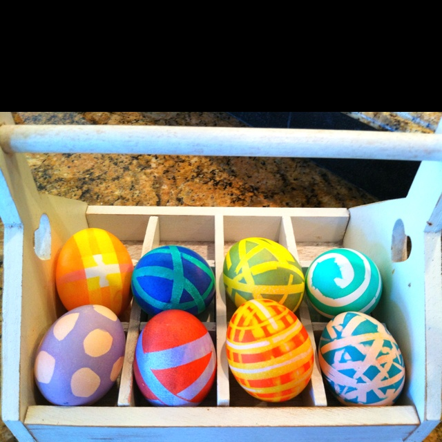 Dyed eggs using electrical tape.