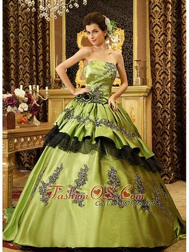 Strapless Olive Green Beaded Appliques Taffeta Court Train Custom Made Quinceanera Dress fashionos.com
