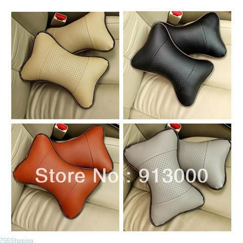New 2/Pcs Genuine leather headrest neck pillow Car Auto Seat cover Head Neck Rest Cushion Headrest Pillow Free shipping $10.80
