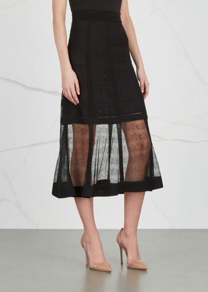 Alexander McQueen Black lace-knit silk skirt - Harvey Nichols