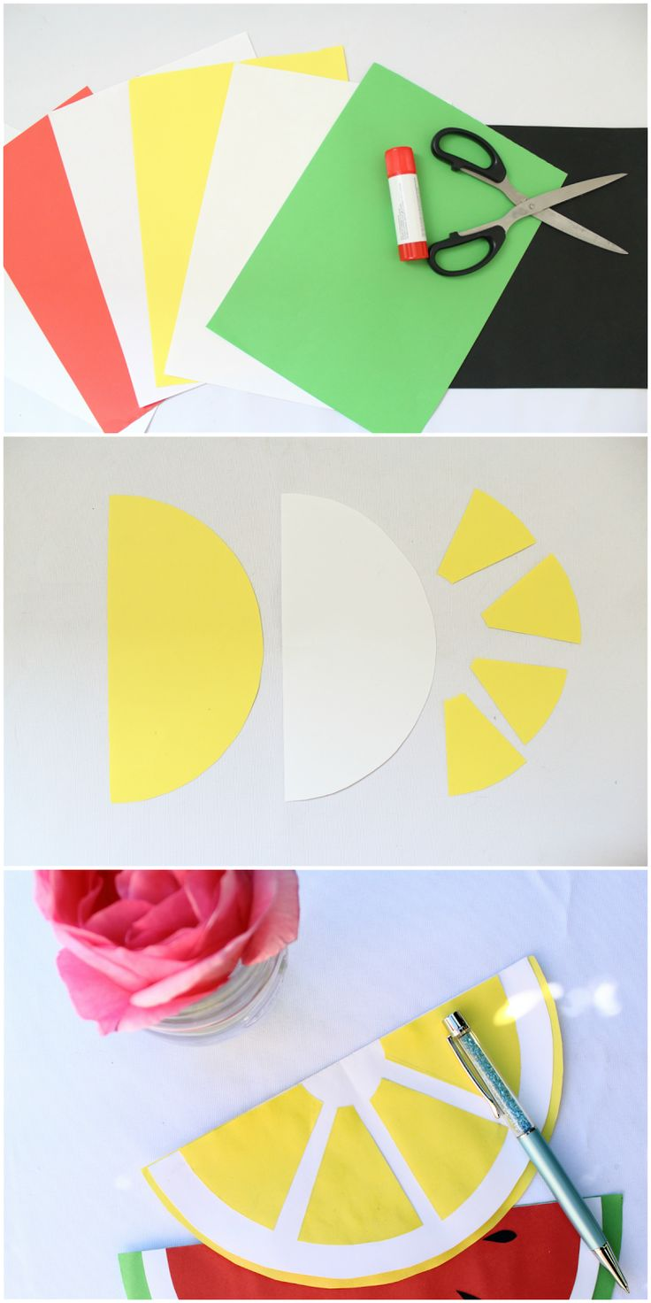 DIY: lemon and watermelon card!!! #diy #lemon #watermelon #card #faidate #biglietti auguri