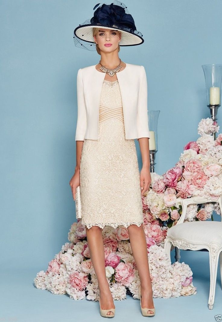 Modern Mother of the Bride Lace Dresses Beading Half Sleeve Jacket Women Dress | eBay