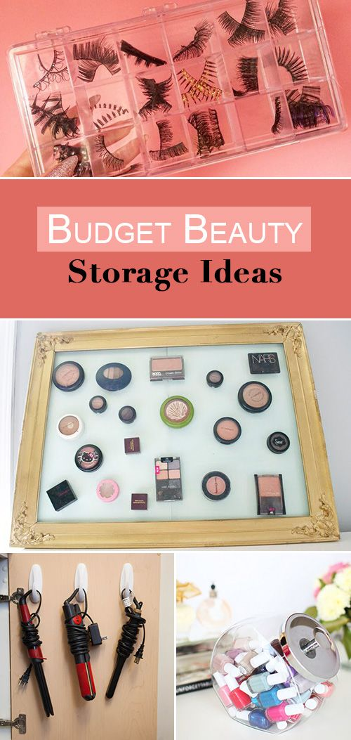 Budget Beauty Storage Ideas • Ideas and tutorials on creating an organized beauty space! From make-up storage to where to put all your shampoos, great tips!