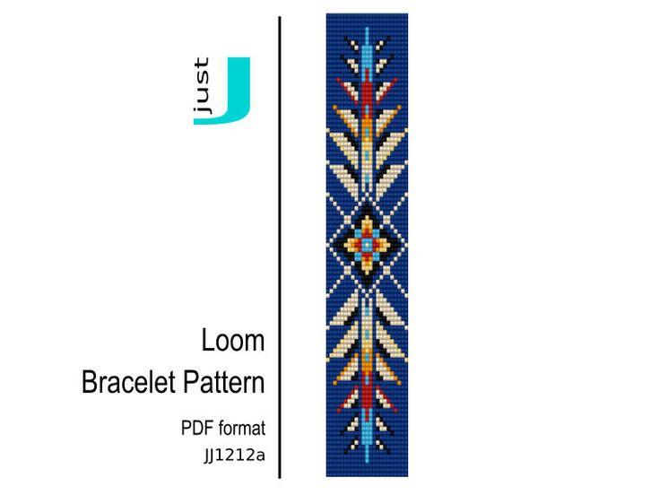 Bead loom pattern, native american bracelet, loom bracelet pdf, american jewelry, american pattern, colorful bracelet, beading tutorial by JustJBoutique on Etsy