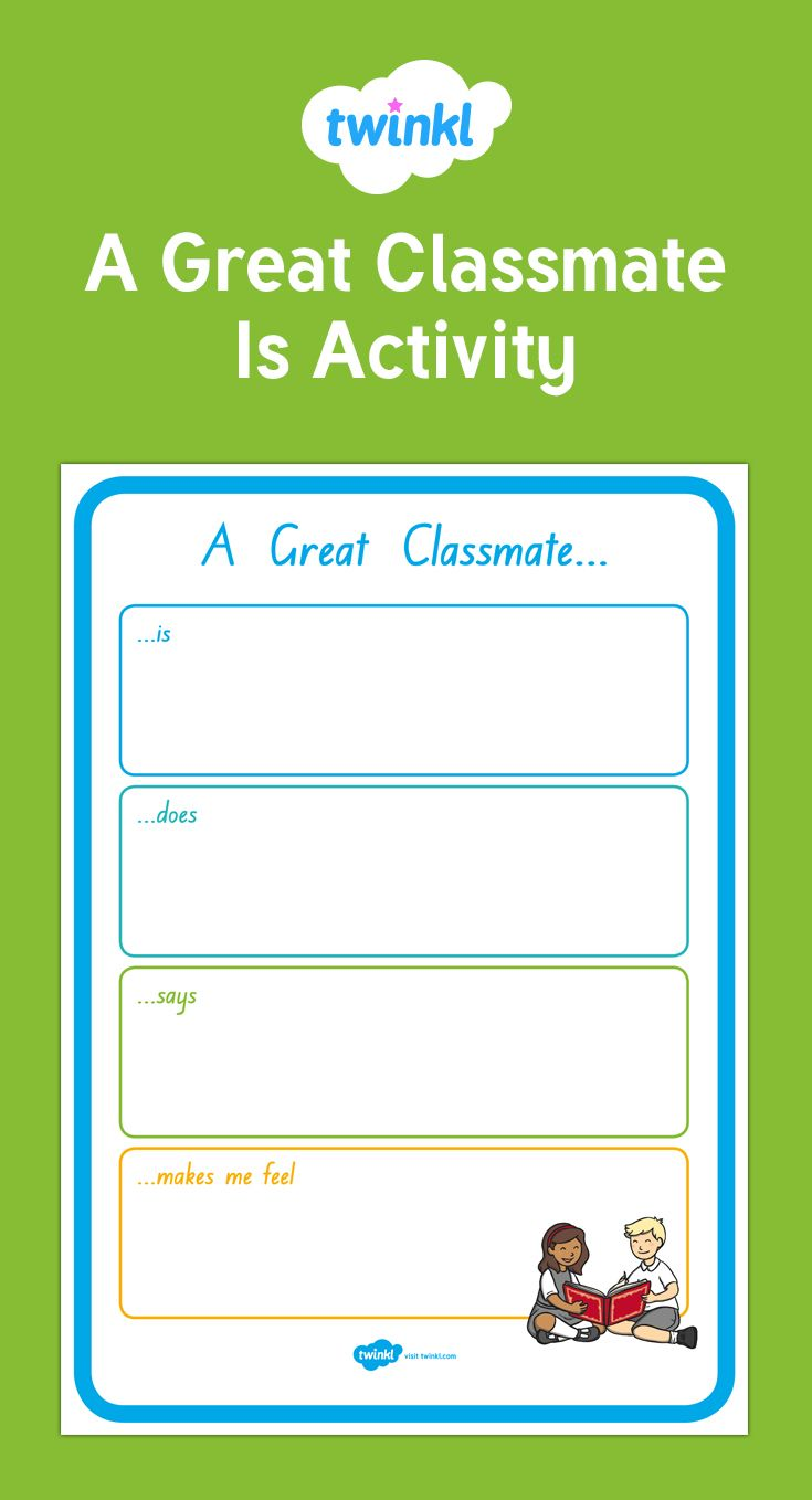 Great for children to think about what a great classmate would be like.