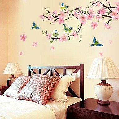 romantische kersenbloesem vormige slaapkamer / woonkamer / tv achtergrond muur sticker – EUR € 5.30