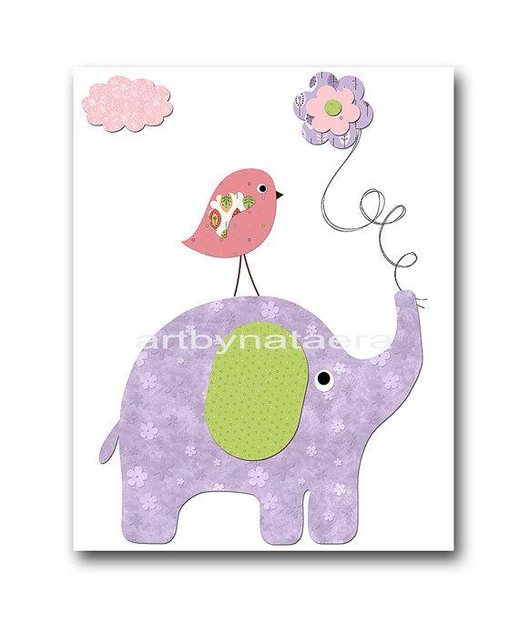 Elephant Nursery Kids Wall Art Baby Girl Nursery Decor Baby nursery print children art print Nursery Print Girl Art 8x10 rose lavender