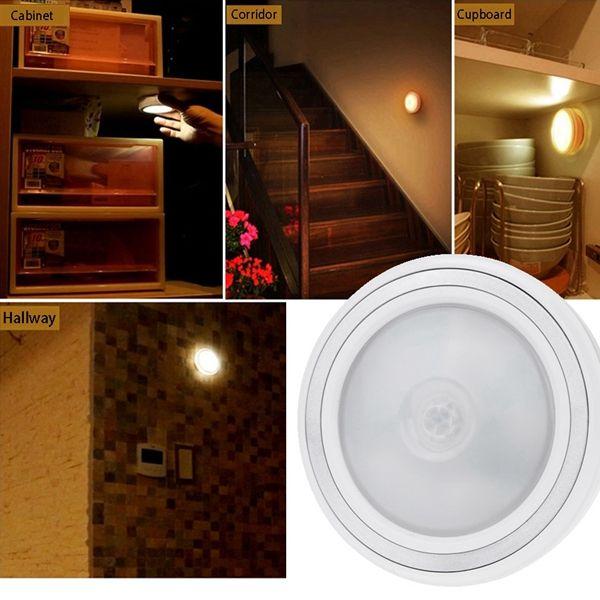 Battery Powered Wireless PIR Motion Light Sensor LED Night Lamp For Cabinet Bedside Hallway