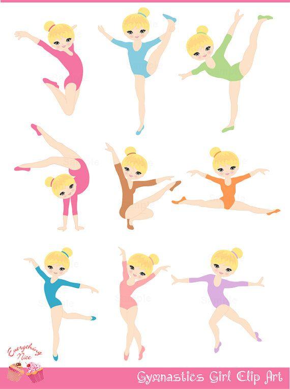 Blonde Gymnastics / Gymnast Girl Clip Art by 1EverythingNice, $5.00