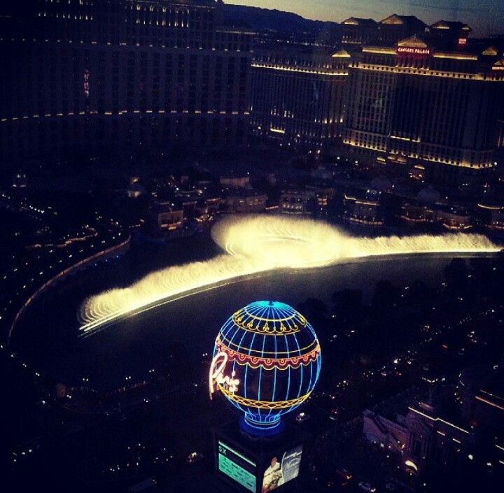 The Bellagio fountains from our hotel room