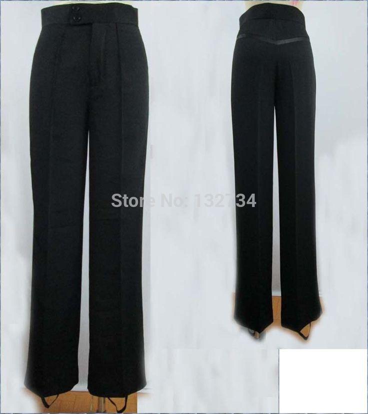 Черный атласной лентой на боковой мужские брюки мужские брюки-латинский танец брюки-взрослого латинских танцев, Сальса, Танго танцевальная брюки