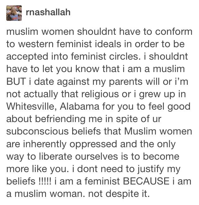 Muslims can be feminists too! Stop the bigotry...Feminism is about equality for…