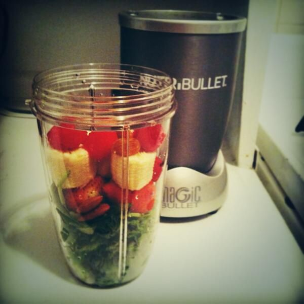 Favorite @Kathy Calvert breakfast recipe = kale, spinach, banana, strawberries, raspberries,almond :) #nutribullet