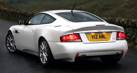 Aston Martin V12 Vanquish S white back view