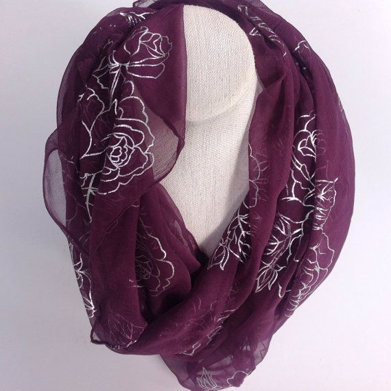 Check out Bugundy silk square shawl, Silver Foil floral scarf, Maroon purple Floral scarf, gift for teacher wife, Christmas Gift, Babushka headcover on blingscarves