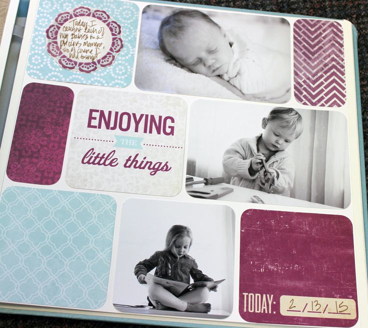 """Simple Srappy Page: You'll need 3 photos, scraps of Designer Papers no smaller than 4x4 & Slide-In Cards from Tangerine, Plum & Then Some.Trim 1 photo to 4x4 and left the other 2 at 4x6. Cut scraps to measure: 2 @ 2x4 and 3 @ 4x4. Trim 2 Slide-In Cards to 4x4, then round corners. Lop off 1/8"""" from length & width of everything (for white space between all pieces). Adhere everything to page as shown. Trim out flower embellishment, then adhere. Voila :) #CreativeMemories…"""