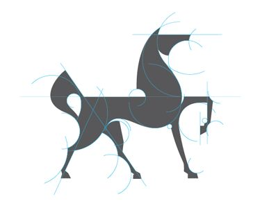 Construction lines on a horse logo