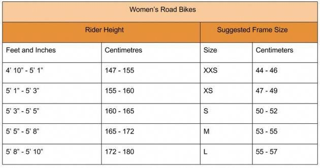Women S Bike Size Guide Road Bike Women Bike Bike Rider