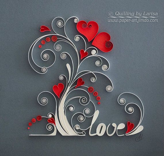 Simply stunning.... quilling wall art a gorgeous Love Tree to celebrate love... especially nice idea for a 1st Anniversary Gift ♥