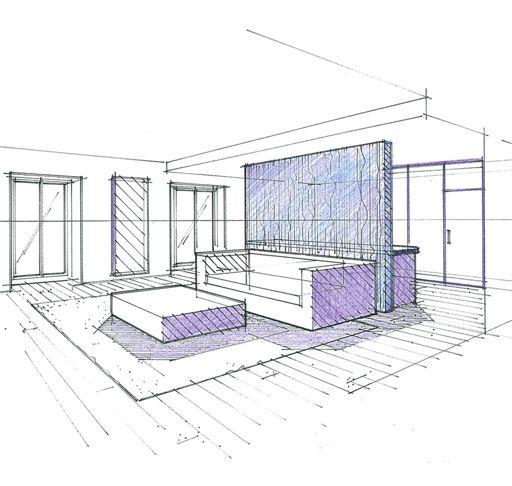 24 best perspectives et croquis en architecture int rieure. Black Bedroom Furniture Sets. Home Design Ideas