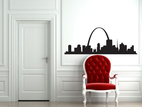 St. Louis, Missouri Skyline Wall Decal Small   45 Wide X 16.5 Height Large. Pool  Table ...