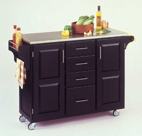 Home Styles 9100-1042 Create-a-Cart 9100 Series Cuisine Cart with Stainless Steel Top, Black, 52-1/2-Inch by Home Styles. $466.00. Made of solid wood, natural asian hardwood with stainless steel top and utility drawer. This home styles 9001 series cuisine kitchen cart is a unique and refreshing solution for kitchen utility. This cart is having four utility drawers and two cabinets, each with an adjustable shelf. Available in black finish. Measures 48-inch width by 17-3/...