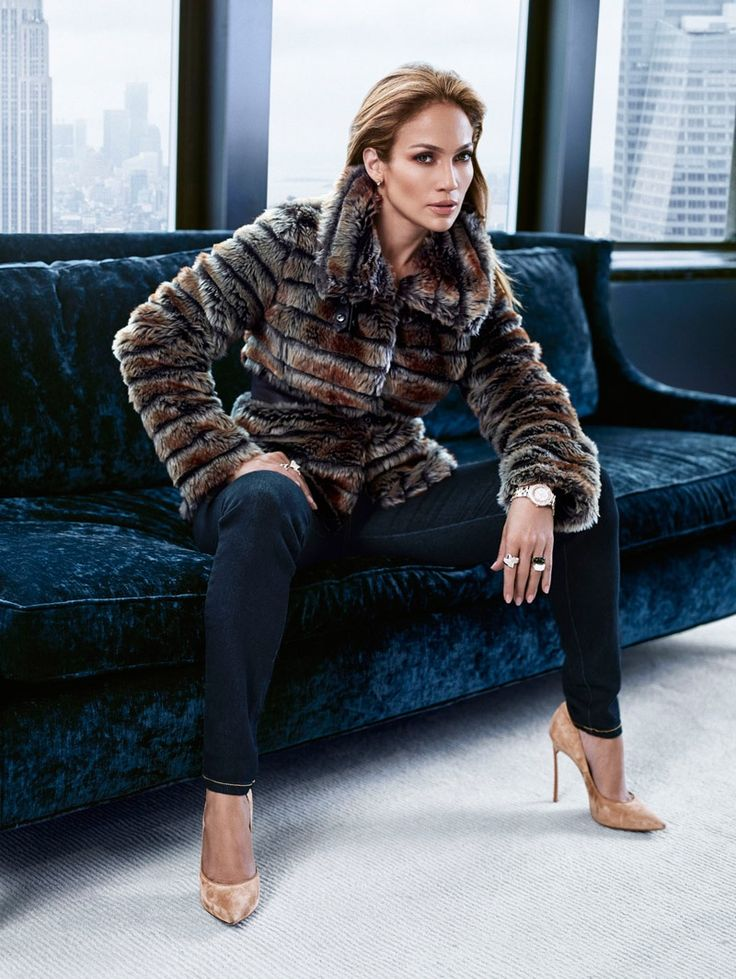 Jennifer Lopez wears a faux fur coat for her J.LO by Jennifer Lopez clothing collection Photoshoot