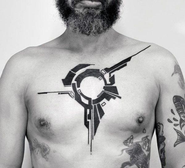 Top 37 Simple Chest Tattoo Ideas 2020 Inspiration Guide Cyberpunk Tattoo Chest Tattoo Men Blackwork Tattoo