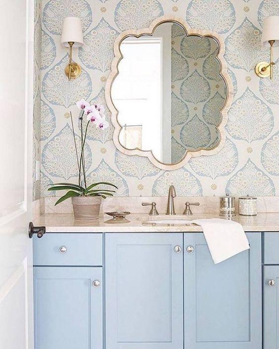 Pastel blue vanity with wallpaper   Dreamy bathroom ideas