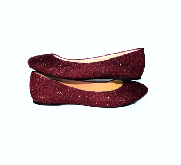 Sparkly Burgundy Maroon Dark Red Glitter Ballet Flats Wedding Bride Prom Shoes Pin Up -GLITTER SHOE CO