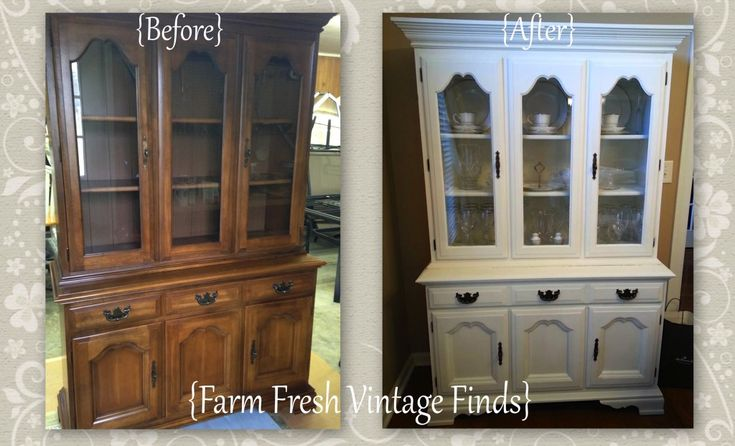 Annie Sloan Old White Painted Hutch - Farm Fresh Vintage Finds