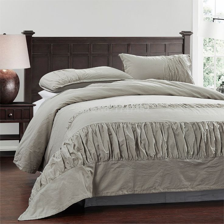 linen cotton duvet cover set  with Pleats including one duvet cover and two pillowshams