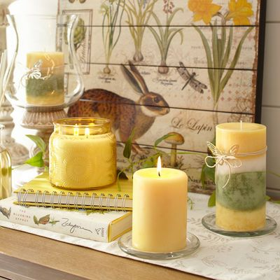 The essence of honeysuckle flower, plus magnolia, lilac, cyclamen, lily, green dew and warm musk—all in fragrant candles to fit your favorite holders.