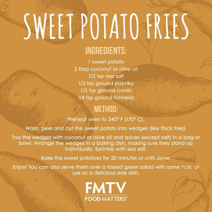 Sweet potatoes have a slightly lower glycemic load and glycemic index than most regular white potatoes, so they won't spike your blood sugar as much. They are also a source of vitamin A, vitamin C, manganese and anti-inflammatory compounds!  Recipe tutorial here --> https://www.fmtv.com/watch/sweet-potato-fries