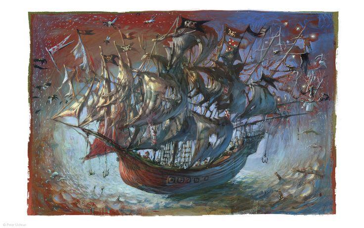 "Peter Uchnár illustration for ""Peter Pan""."