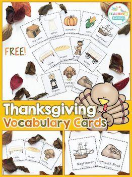 Thanksgiving Vocabulary Cards (Freebie!)