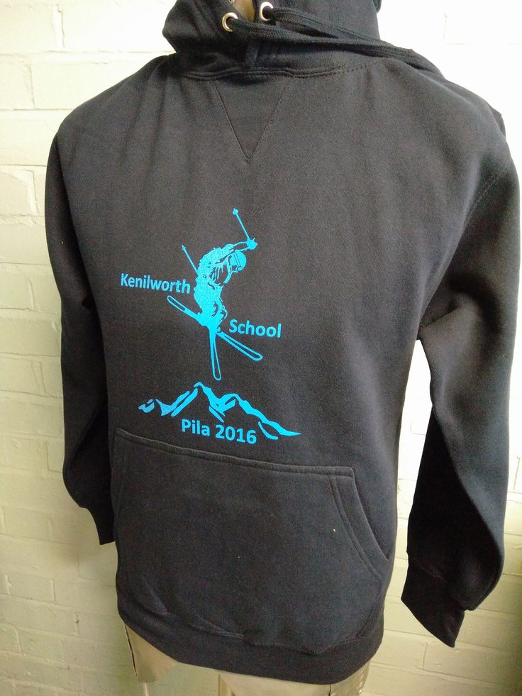Black Ski Tour Hoodies with Blue Print for Kenilworth School Pila 2016. Both front and back print are to custom designs from the school.