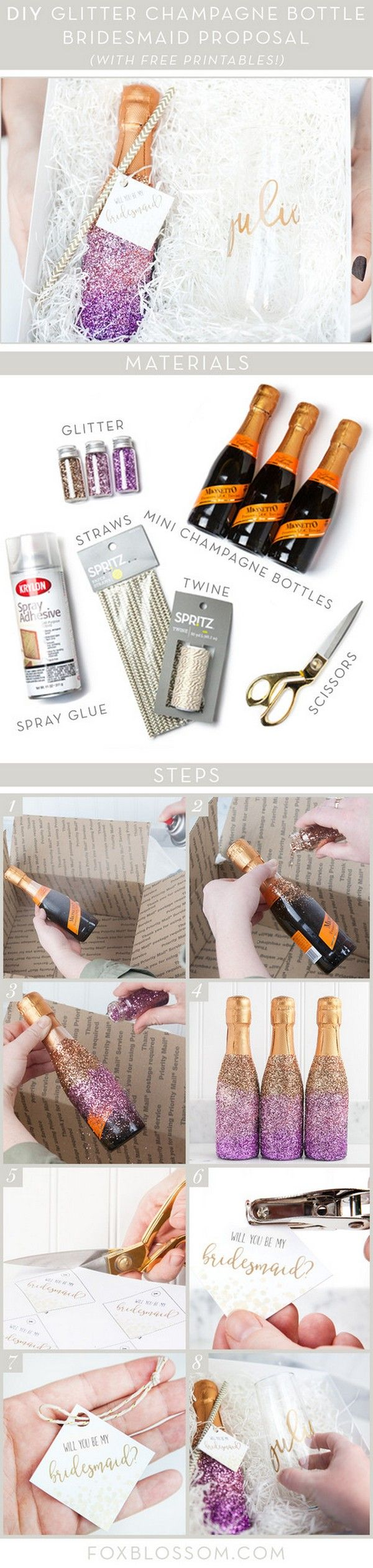 diy glitter champagne bottle bridesmaid proposal gift ideas