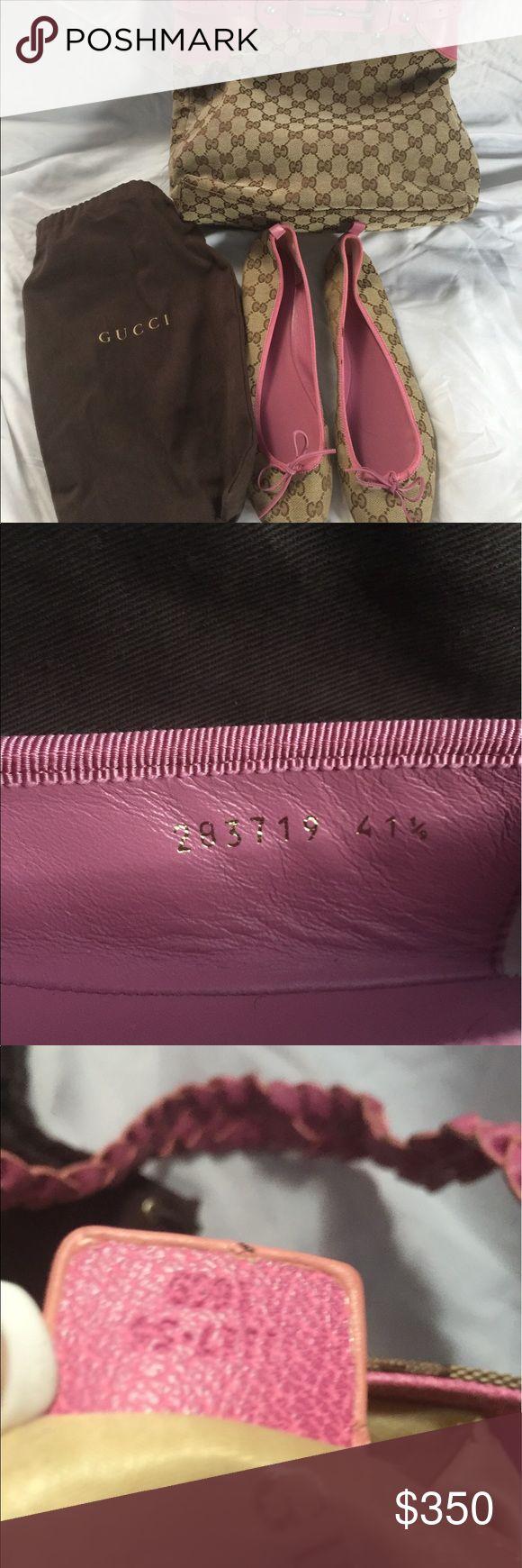 Authentic Gucci purse and shoe set Authentic Gucci Purse and shoes beigh. Pink trim Gucci Bags Totes